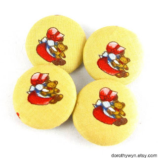 Fabric Covered Buttons - Sunbonnet Sue with Teddy Bear