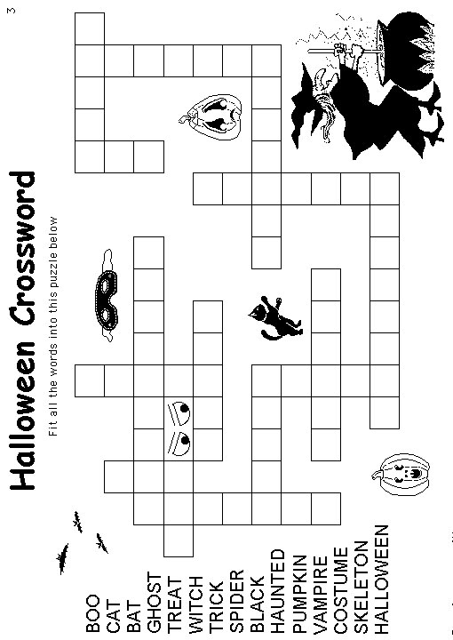 Divine image intended for halloween crossword puzzles printable