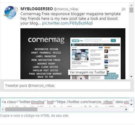 Como adicionar twitter feed widget no blogger