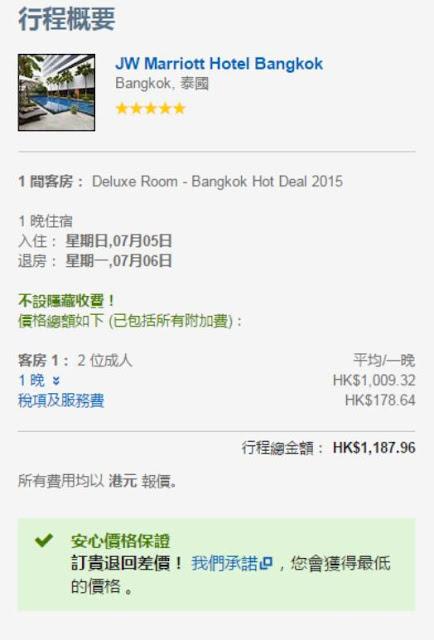 Expedia每晚都係HK$1,009 / TWD 3,989,連稅HK$1,188 /TWD 4,697