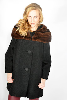 Vintage 1960's black wool swing coat with brown mink collar and cuffs.