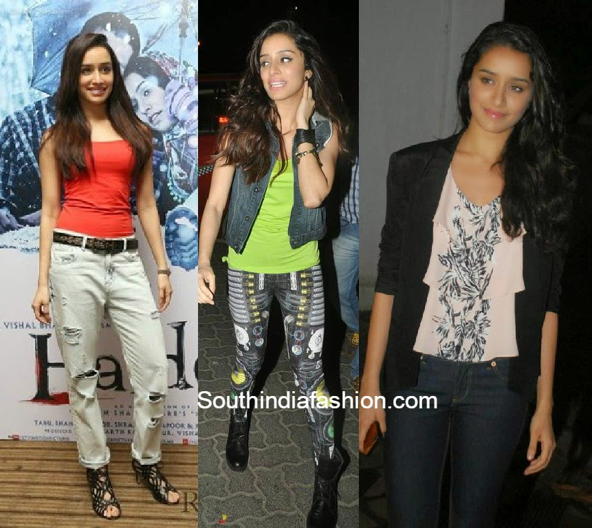 shraddha kapoor in jeans and shirts