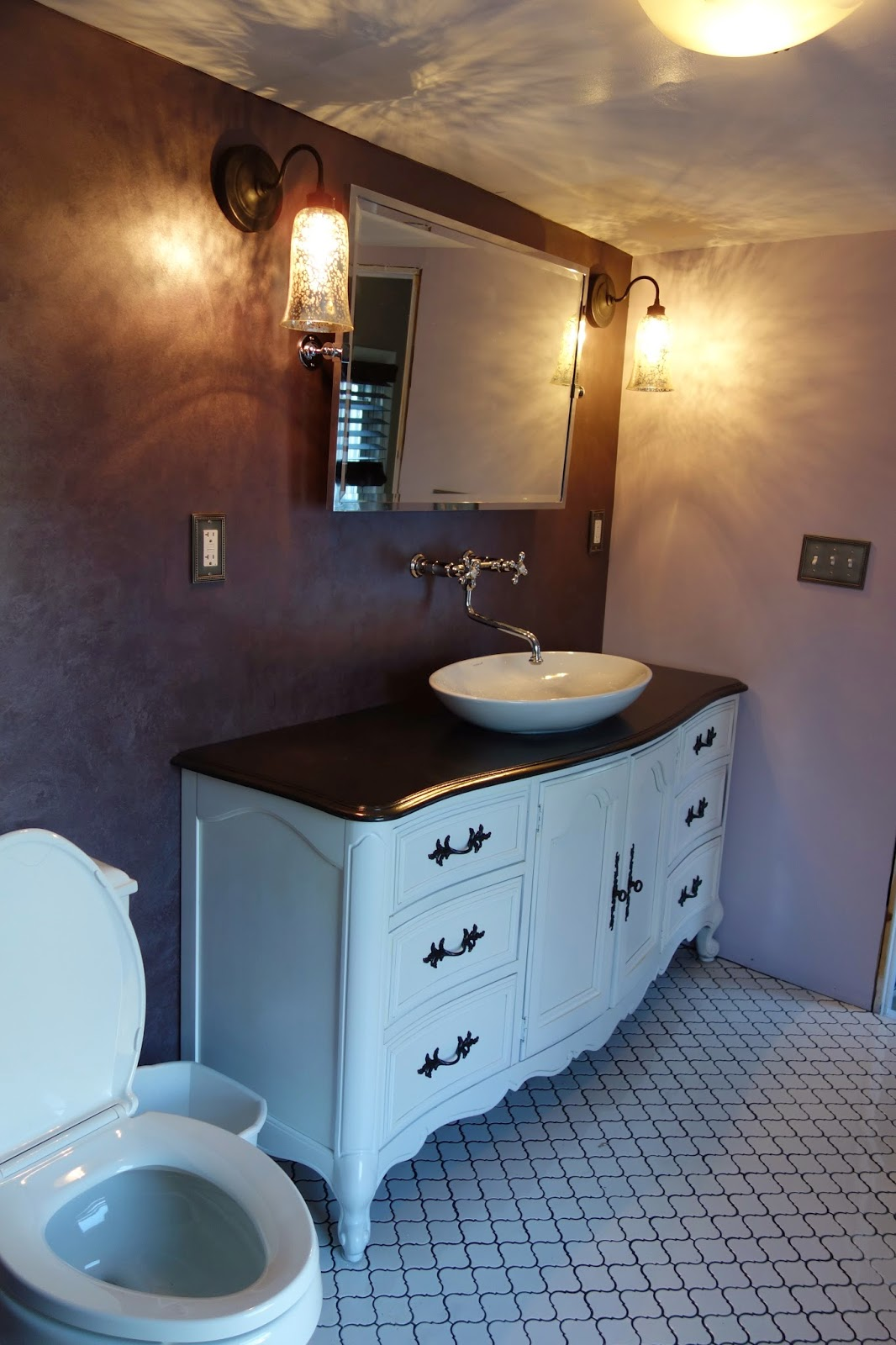 rustyfarmhouse: Bathroom Updates - Tile, Toilet, Mirror, Lights and ...