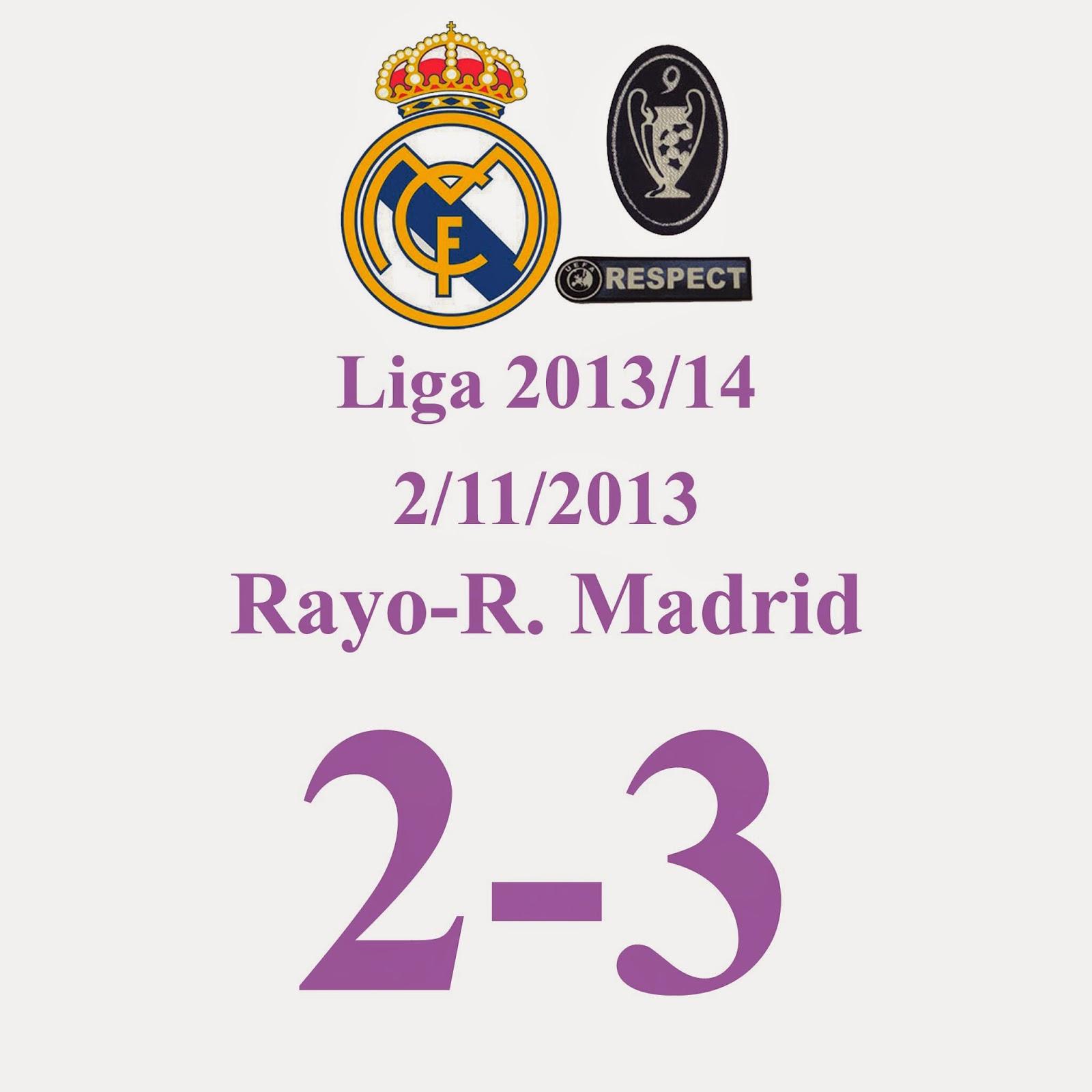 Rayo Vallecano 2 - Real Madrid 3 (Jornada 12) 2/11/2013 - Otros dos Golazos de Ronaldo y otro de Benzema