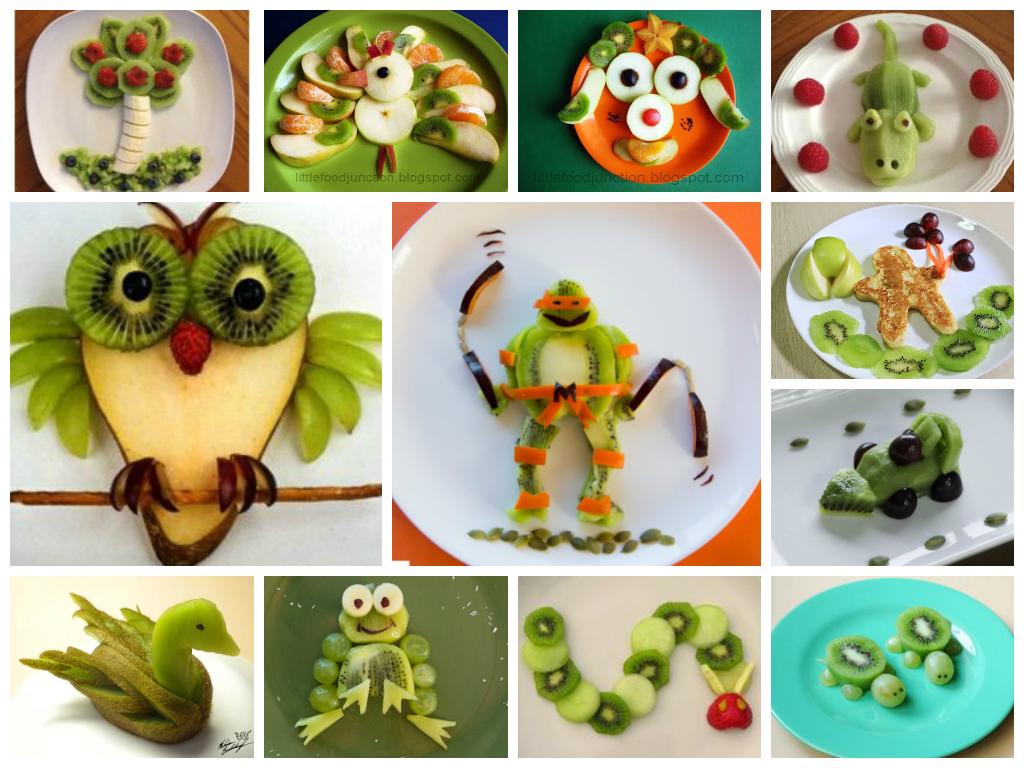 рисуем едой киви для детей в тарелке