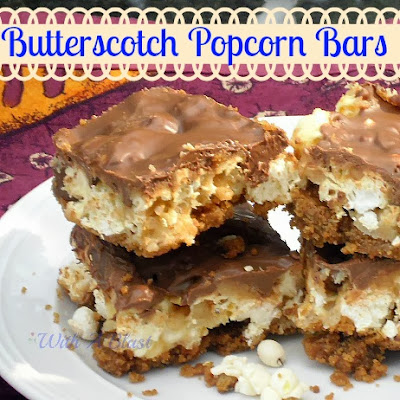 Butterscotch Popcorn Bars ~ A fun sweet/salty treat for all !  Kids love this !   #sweettreats #butterscotchrecipe #popcorntreats