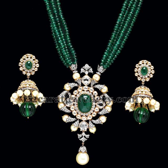 Pc Jewellers Emeralds Beads Set Jewellery Designs