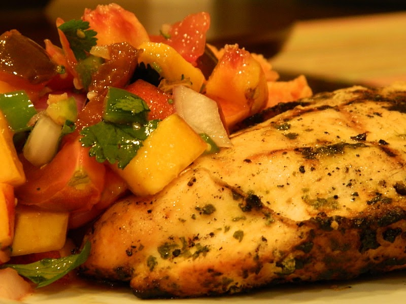 ... Cilantro Lime Grilled Chicken with Fresh Peach Salsa and Tomato Rice