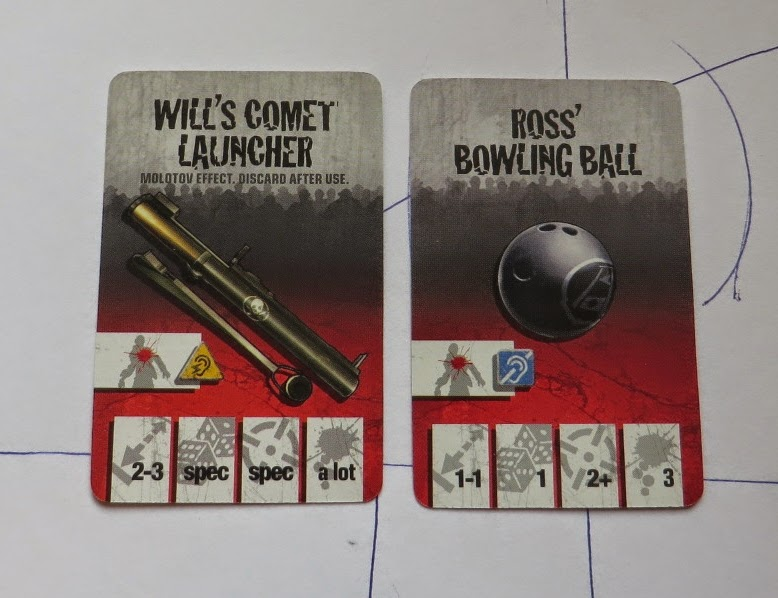 Zombicide, Comet Launcher, Bowling Ball, weapon, cards