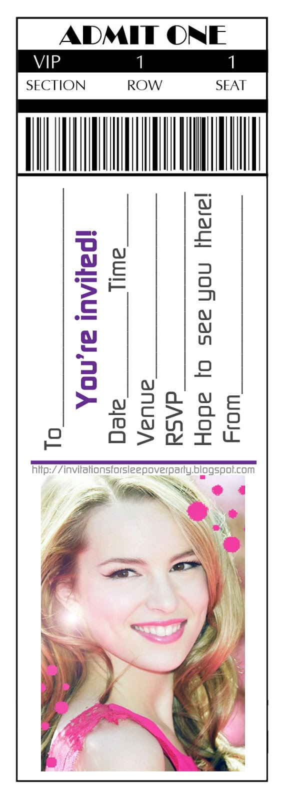 TICKET STYLE VIP PASS PARTY INVITATIONS