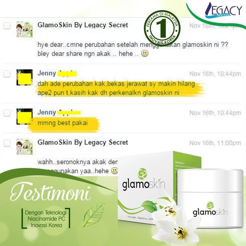 glamoskin, testimoni glamoskin, produk legacy secret, produk dari korea