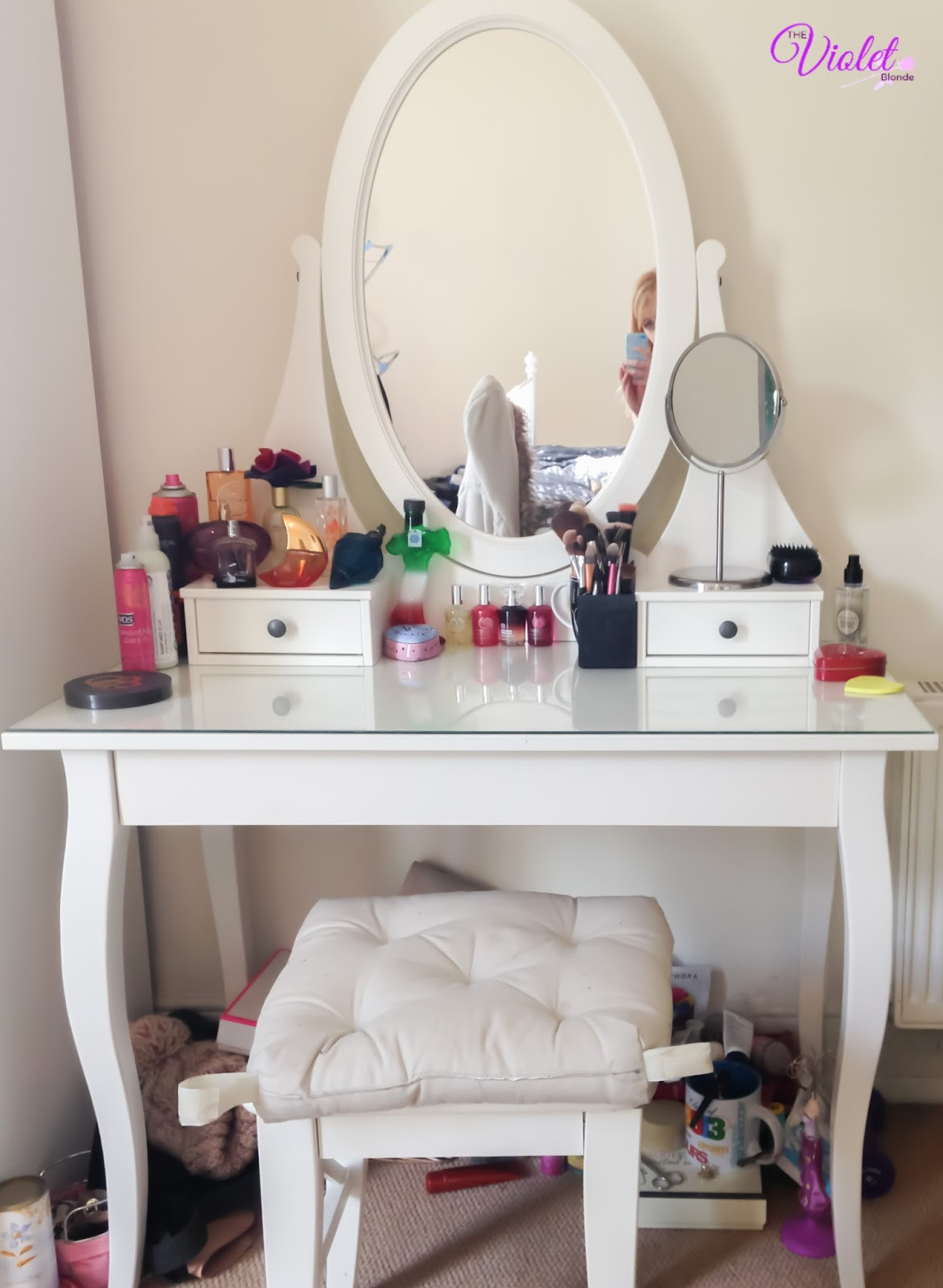 A look inside my dressing table the violet blonde for Ikea hemnes vanity table