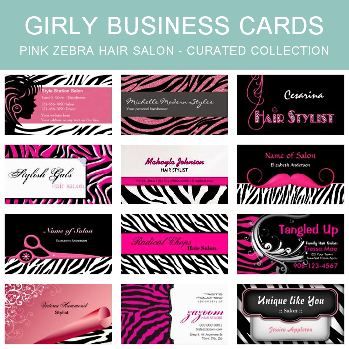 FEATURED COLLECTION: Pink Zebra Print Hair Salon Business Cards ...