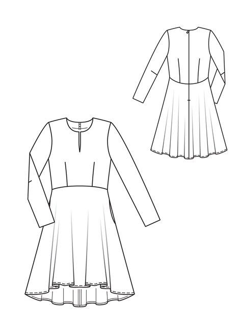 Line Drawing Dress : Velvet ribbon long sleeve dress