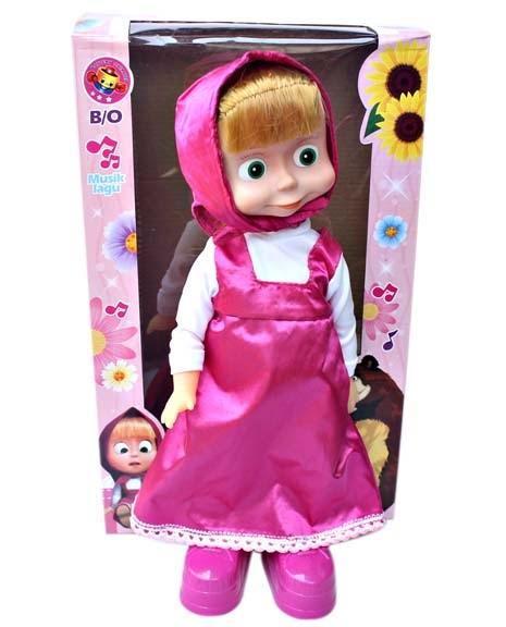 Kado ulang tahun berupa boneka Masha yang dapat bernyanyi dan berjoget.