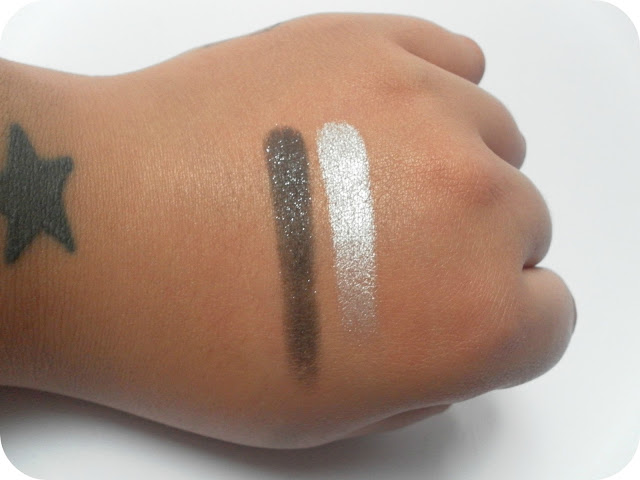 Swatches of L'Oreal Infallible Eyeshadows in 14 Eternal Black and 001 Time Resist White