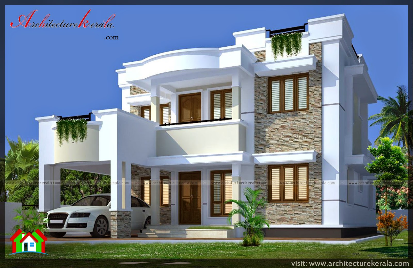Contemporary elevation and house plan architecture kerala for Home designs kerala architects