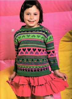 Пуловер с сердечками для девочки вязаный спицами, описание и схемы бесплатно, вязание для детей, детям, журналы.