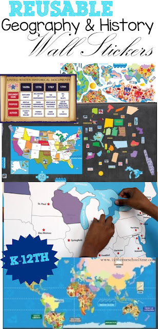 Reusable Geography and History Wall Stickers