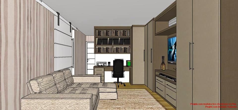 Home Office Sala De Tv ~  longitudinal que mostra a amplitude do ambiente com o office ao fundo