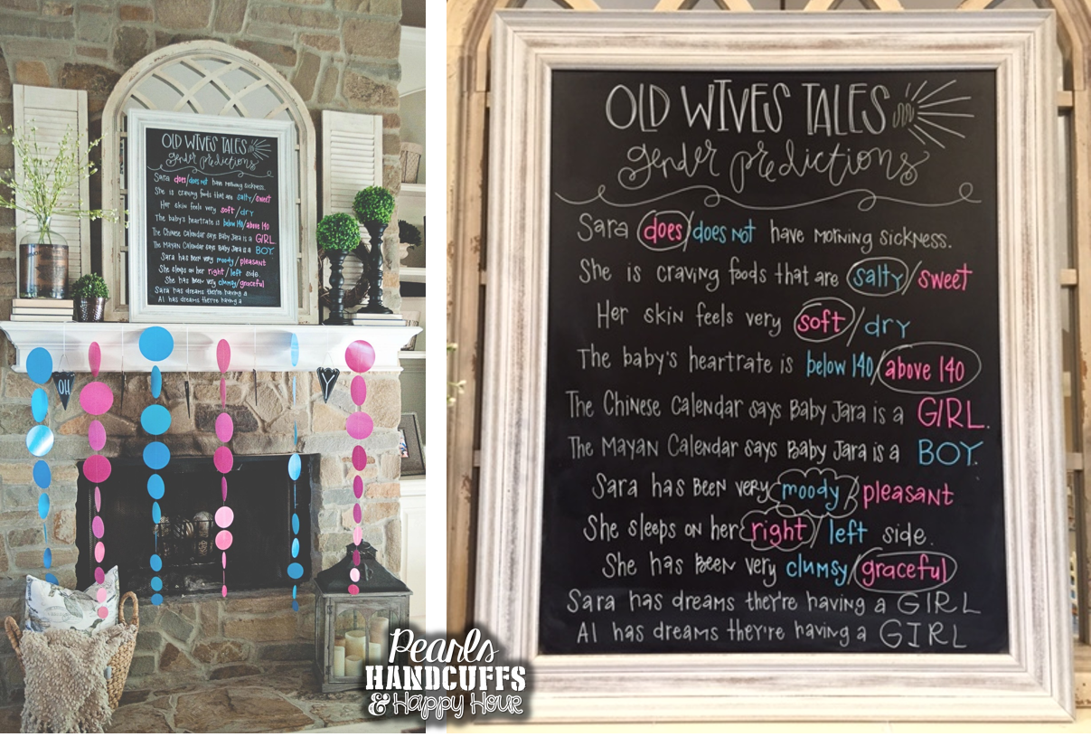 Large Hanging Chalkboard Pearls Handcuffs And Happy Hour Gender Reveal Party