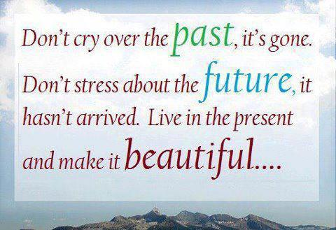 Don't cry over the past, it's gone. Don't stress about the future, it hasn't arrived. Live in the present and make it beautiful...