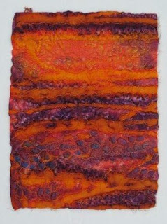 orange purple quilted cotton with felt backing