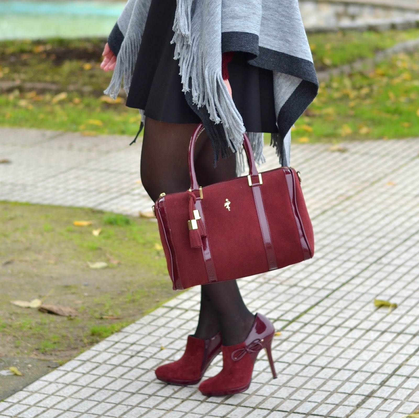 burgundy, menbur, heels, booties, bag