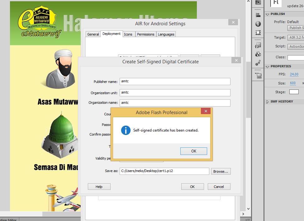 selesai membuat certificate klik pada tab icon,pilih 72 x 72 dan ...