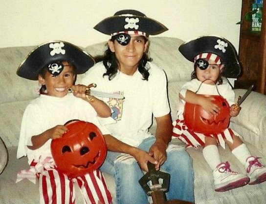 halloween kids and father as pirates