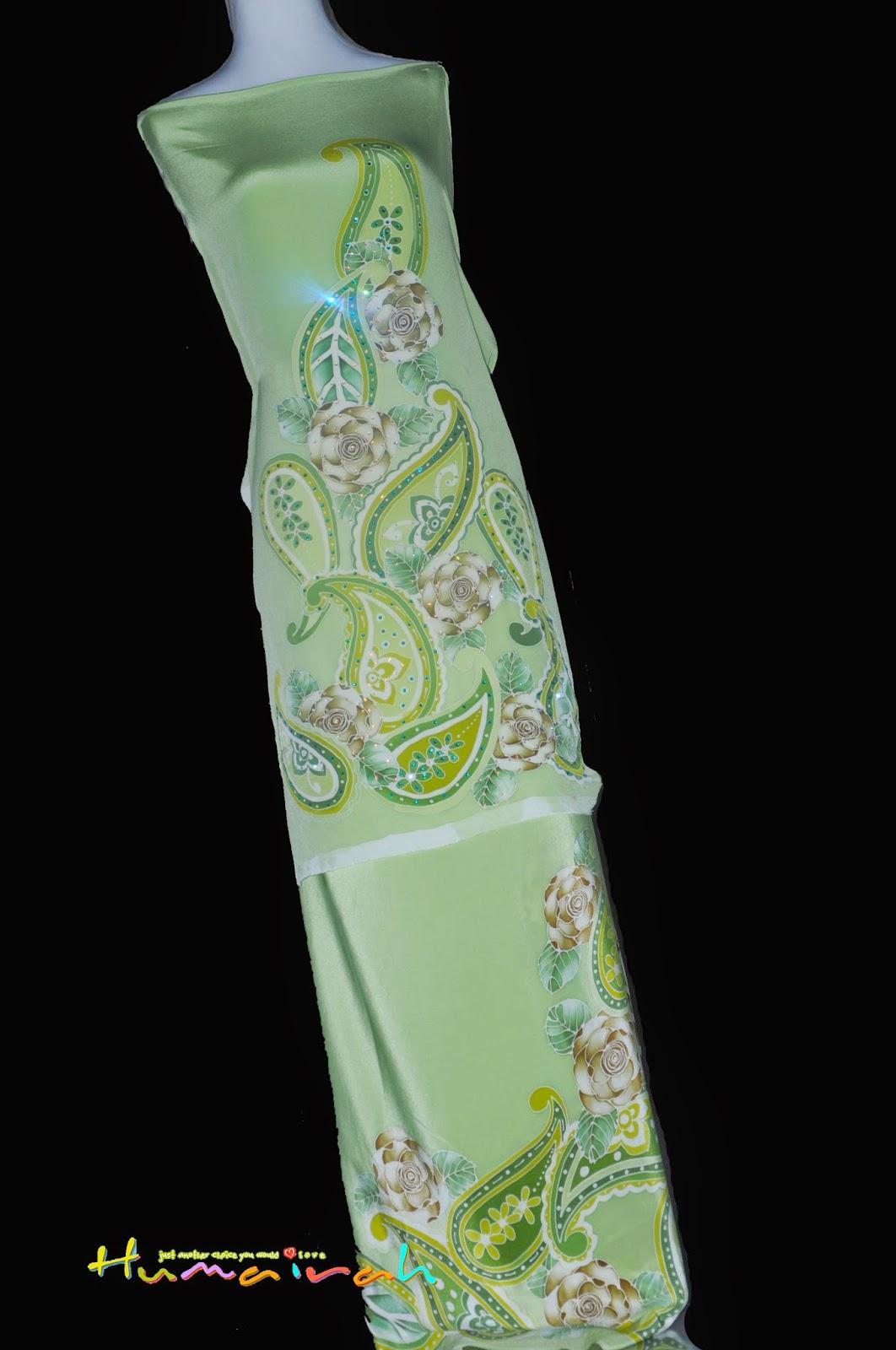 CX82 Batik Sutera Exclusive - Green Paisley Siap Batu Handmade 2