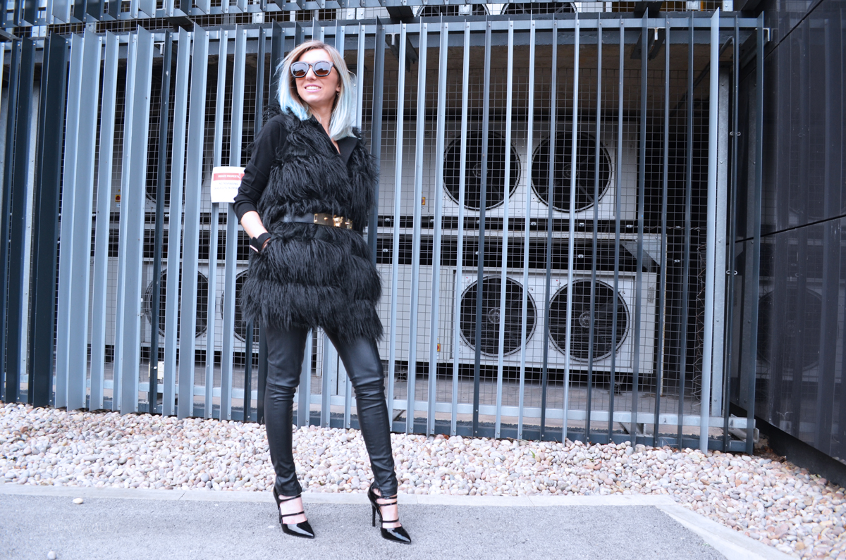 Black Fur gilet and Leather Trousers