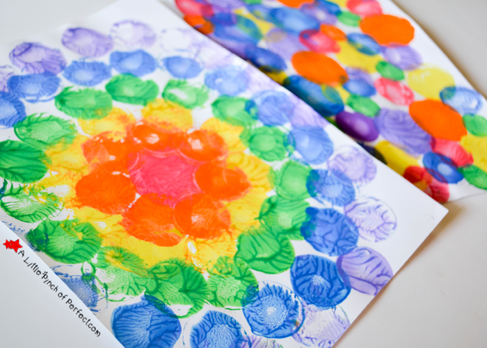 milk caps and lids squish painting process art for kids - Kids Pictures To Paint