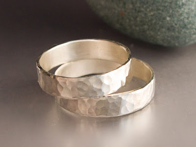 Simple Hammered Sterling Silver Wedding Bands by LichenAndLychee