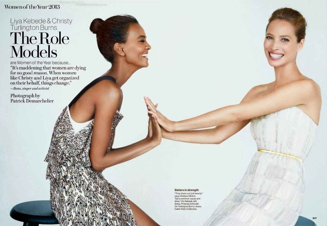 Magazine Photoshoot : Liya Kebede and Christy Turlington Photoshot For Patrick Demarchelier Glamour Magazine US