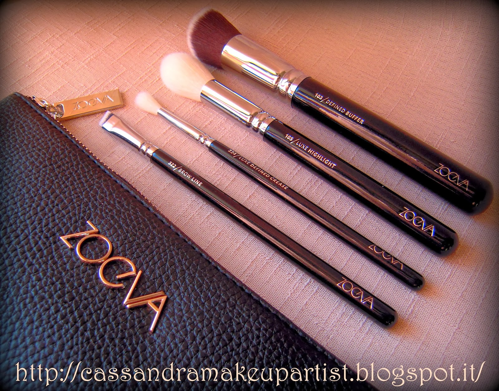 ZOEVA - Nuovi Pennelli 2014 - brush clutch - new brushes brush - 100 Luxe Face Finish - 103 Defined Buffer - 105 Luxe Highlight - 109 Face Paint - 126 Luxe Cheek Finish - 221 Luxe Soft Crease - 224 Luxe Defined Crease - 322 Brow Line - review - recensione - prezzo - price -