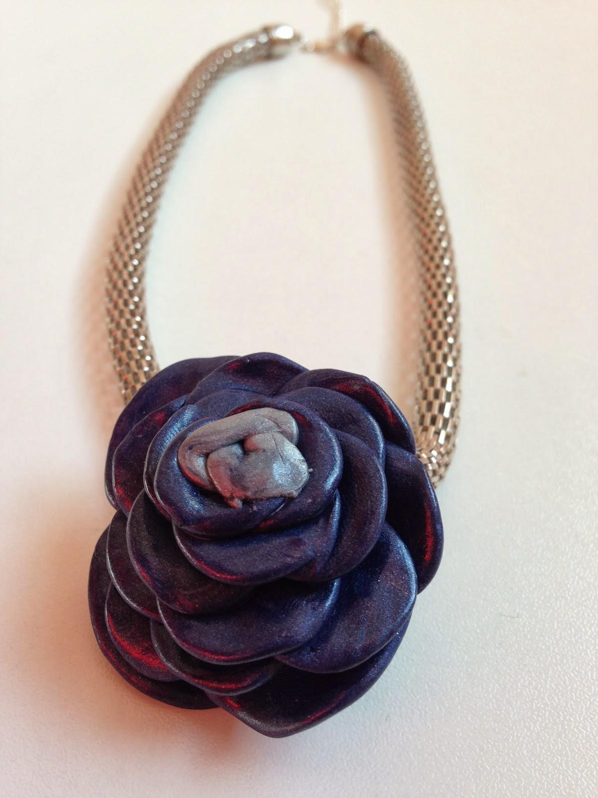 Collar corto rosa azul FIMO