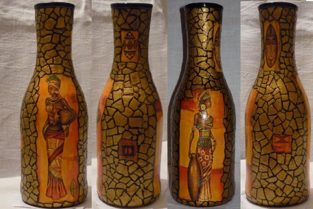 Декор вазы из бутылок своими руками