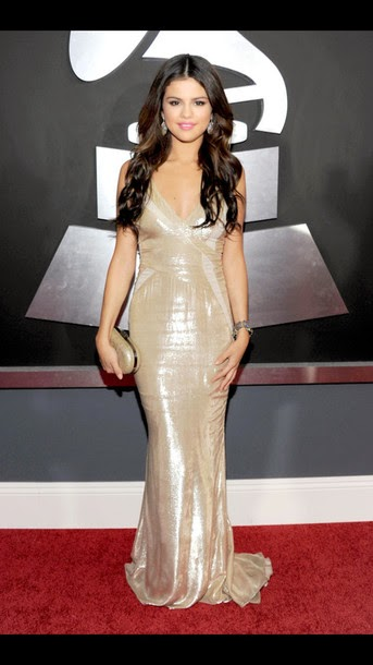Selena Gomez Gold Prom Dress