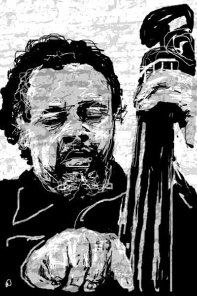 Portrait of Charles Mingus by Peter Schachter (using the Spray Can app on his iPhone)