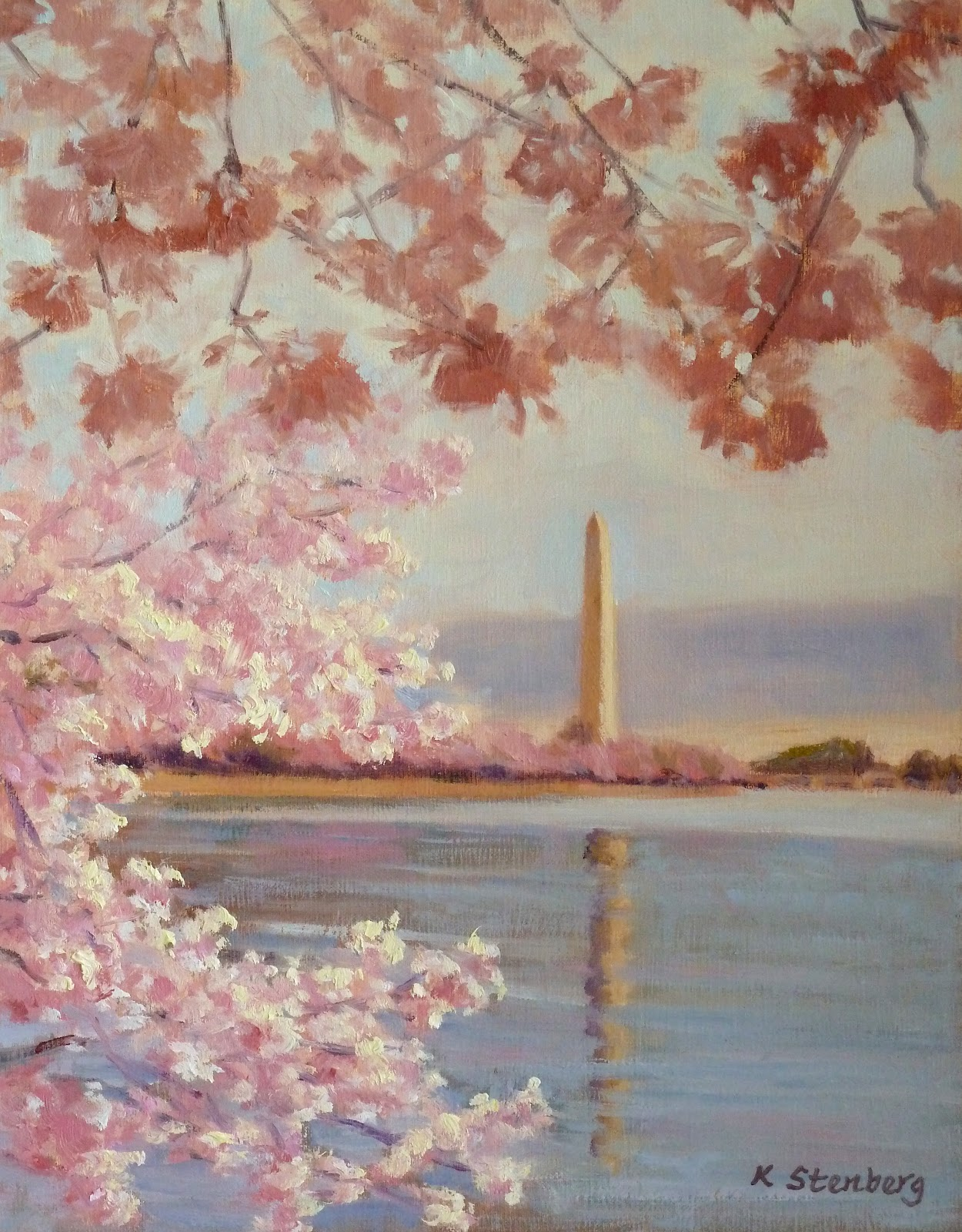Kim stenberg 39 s painting journal cherry blossoms for Canvas painting of cherry blossoms