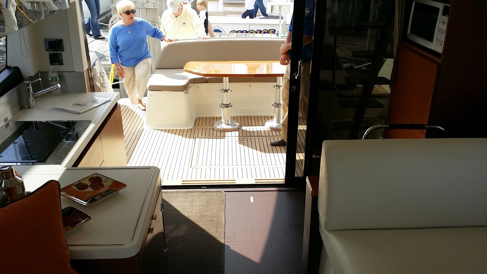 Split galley on the Prestige 450