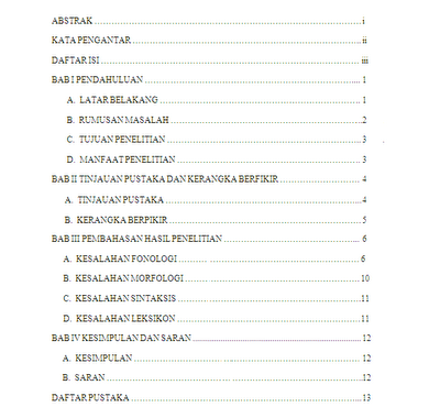 daftar isi,makalah,baik dan benar