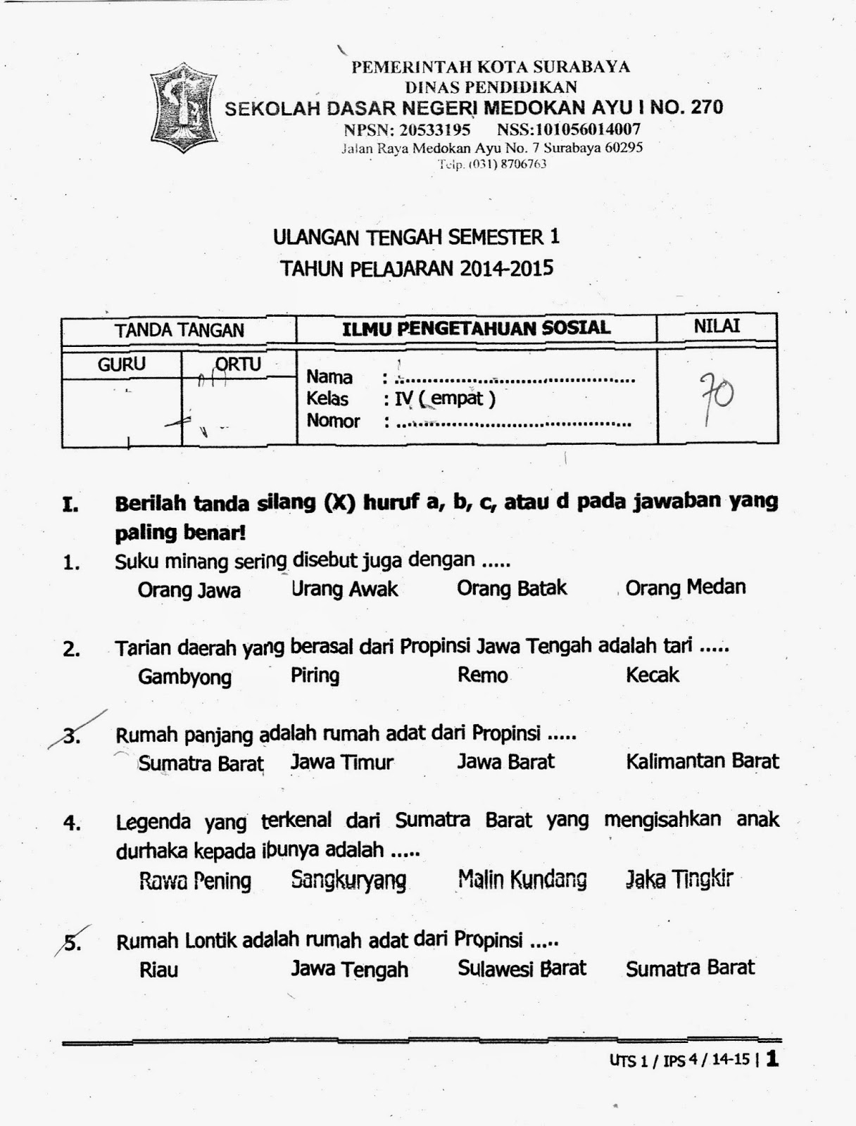 IPS Soal Bahasa Inggris Kelas 1 SD Semester 1 Kurikulum 2013
