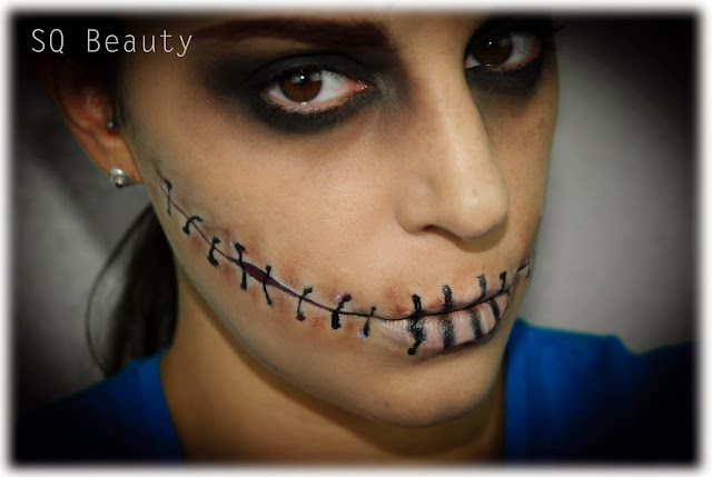 Maquillaje Halloween Gótico Cosido Gothic Stitched makeup Silvia Quiros