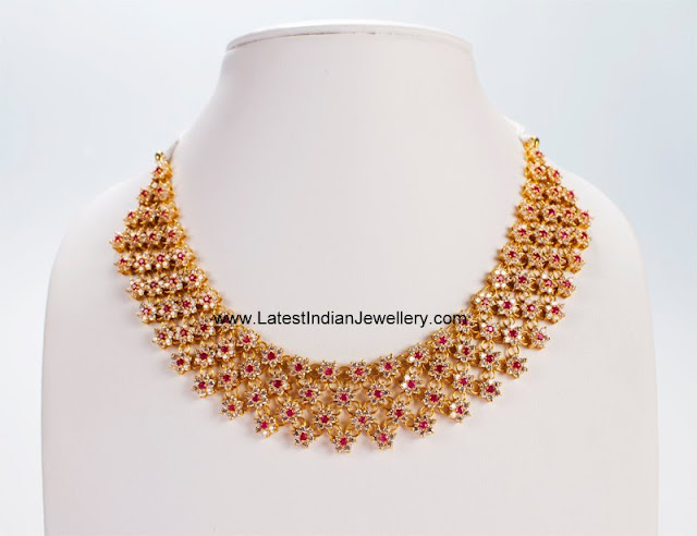 CZ ruby floral Necklace