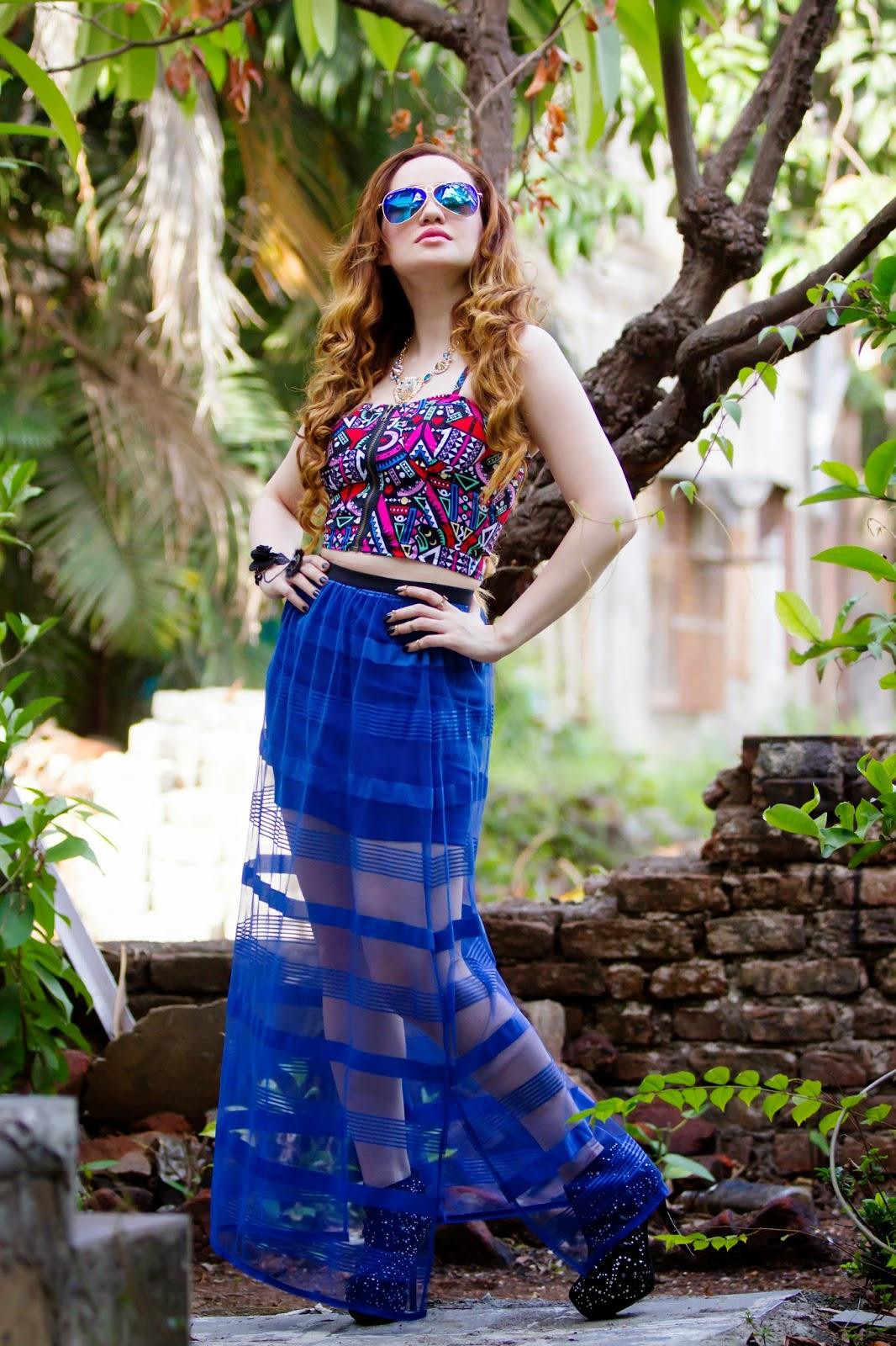 Geometric Crop Top & Sheer Maxi Skirt