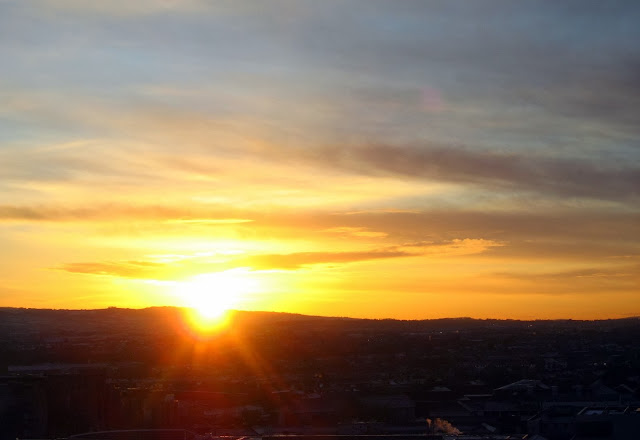 View of sunset from Gravity Bar - Guinness Storehouse, Dublin, Ireland