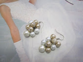 White, Ivory and Champagne Cluster Pearl Earrings