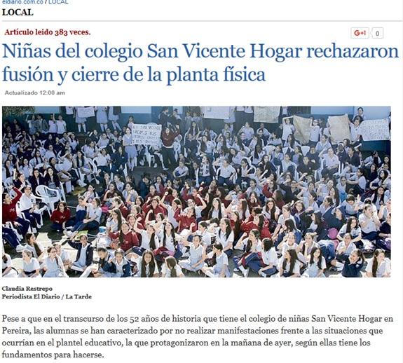 Niñas del colegio San Vicente Hogar rechazaron fusión y cierre de la planta física